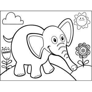 Frolicking Elephant coloring page