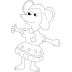 Girl Mouse in Dress coloring page
