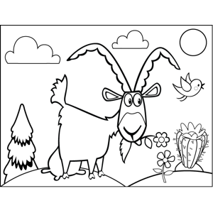 Goat Eating Flowers coloring page