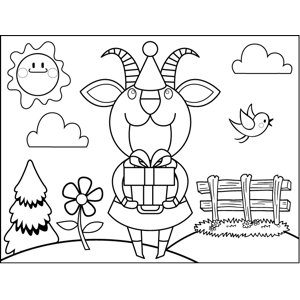 Goat with Birthday Present coloring page