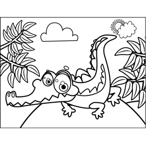 Grinning Crocodile coloring page