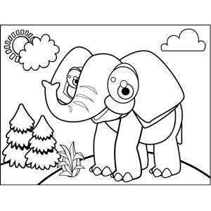 Grinning Elephant coloring page