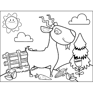 Grinning Goat coloring page