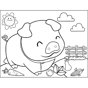 Grinning Pig coloring page