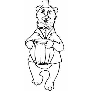 Happy Bear With Barrel Of Honey coloring page