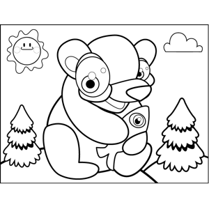 Happy Bear with Fish coloring page
