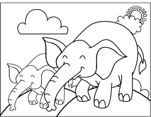 Happy Elephants coloring page