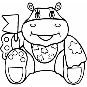 Happy Hippo Waving Flag coloring page
