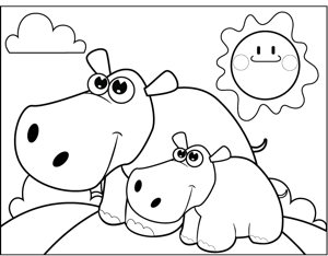 Happy Hippos coloring page