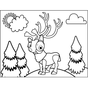 Happy Reindeer coloring page