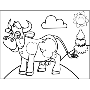 Happy Steer coloring page