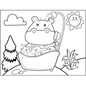 Hippo Taking a Bath Coloring Page