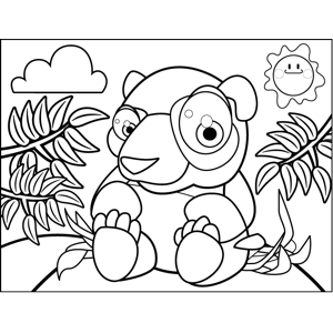 Intrigued Bear coloring page