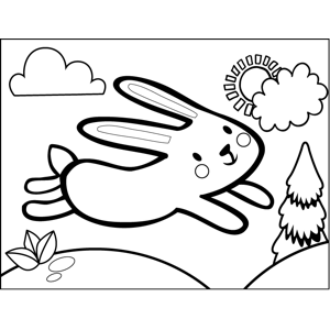 Leaping Rabbit coloring page