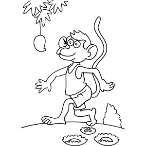 Monkey Spies Fruit coloring page