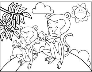Monkeys Eating coloring page