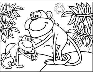 Monkeys Eating a Banana coloring page