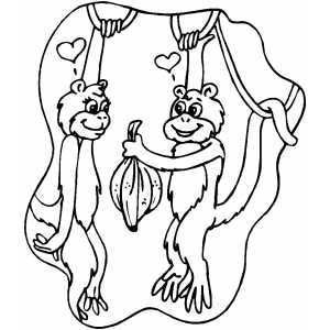 Monkeys In Love coloring page