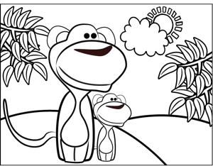 Monkeys on Beach coloring page