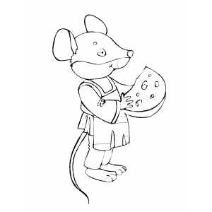 Mouse And Piece Of Cheese coloring page
