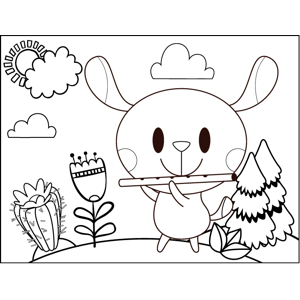 Mouse Playing Flute coloring page