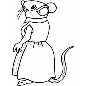 Mouse Wearing Dress coloring page