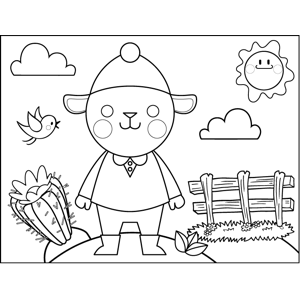 Mouse and Cactus coloring page