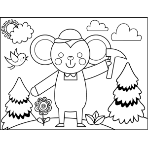 Mouse with Pickaxe coloring page