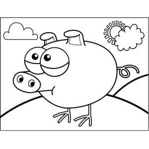 Pig Chicken coloring page