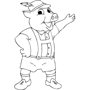 Pig in Suspenders coloring page