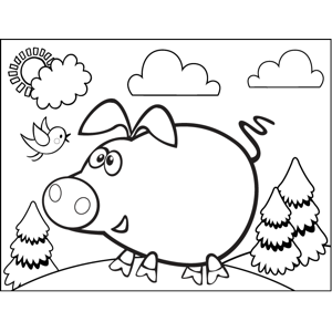 Pig with Bird coloring page