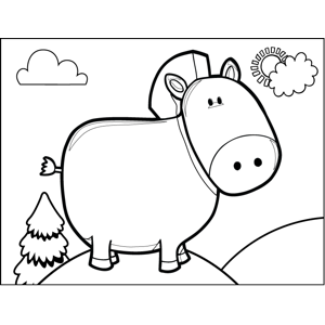 Pig with Cow Tail coloring page