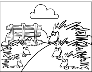 Porcupines coloring page