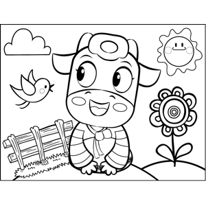 Pretty Cow with Bird coloring page