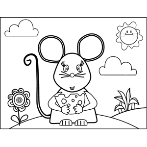 Pretty Mouse with Cheese coloring page