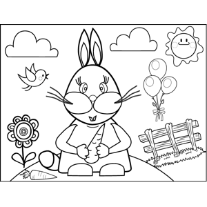 Pretty Rabbit with Carrot coloring page