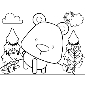 Quizzical Bear coloring page