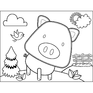 Quizzical Pig coloring page