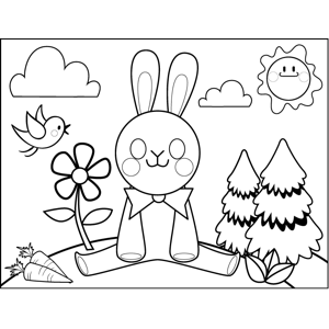 Rabbit Doing the Splits coloring page