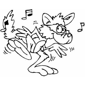 Raccoon Dancing coloring page