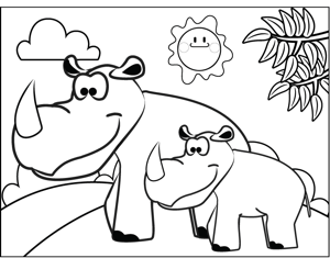 Rhinos coloring page