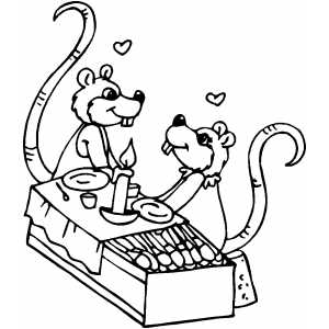 Romantic Rats Dinner coloring page
