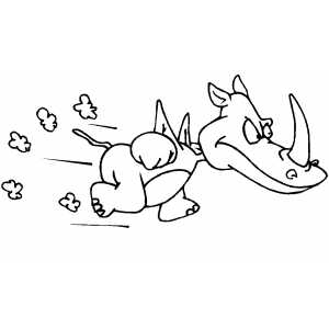 Running Rhino coloring page