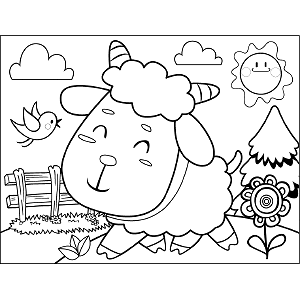 Sheep with Fence coloring page
