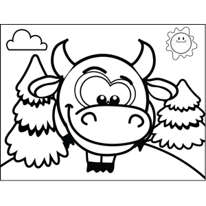 Shy Cow coloring page