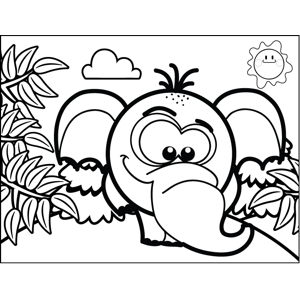 Shy Elephant coloring page
