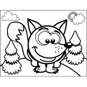 Shy Fox coloring page