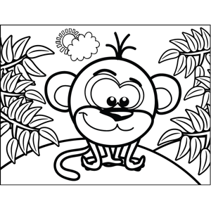 Shy Monkey coloring page