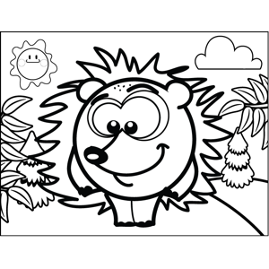 Shy Porcupine Coloring Page