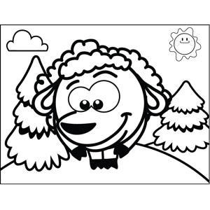 Shy Sheep coloring page